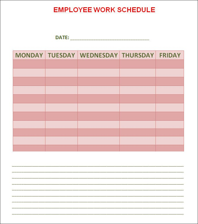 easy employee schedule template .