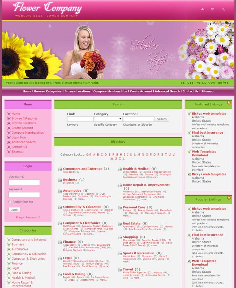 flower php template 788x959