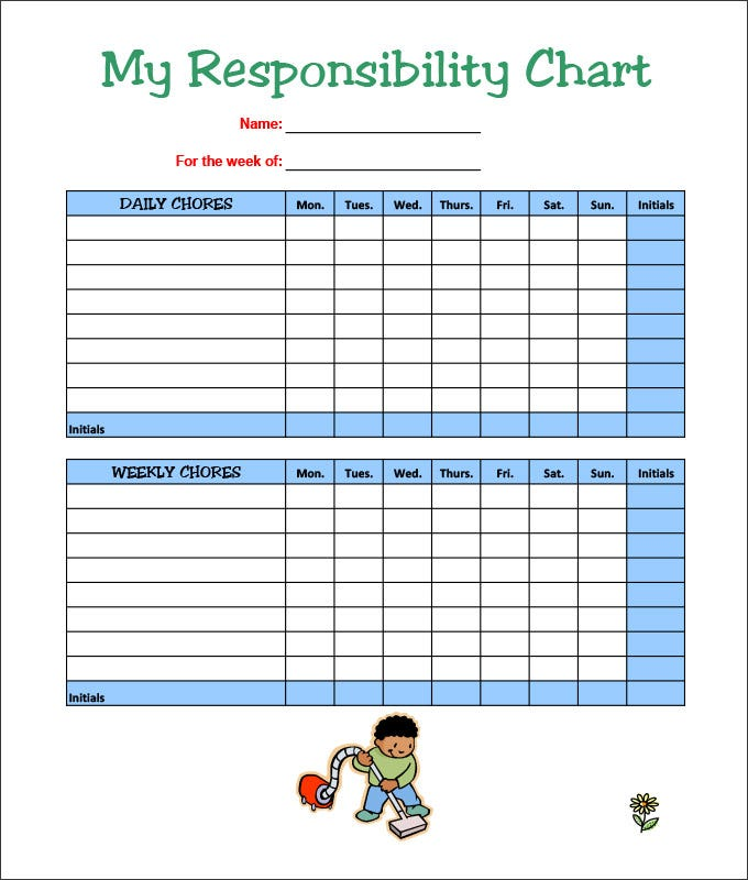 7 kids chore chart templates free word excel pdf for Chore chart for adults templates
