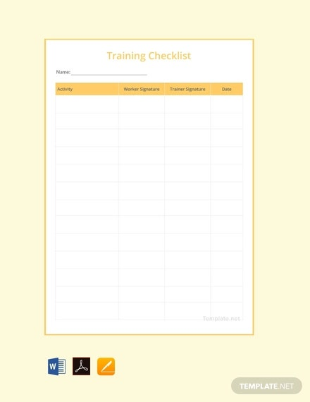 free training checklist