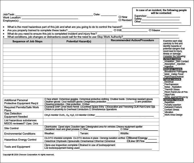 Perfect Job Safety Analysis Sample Throughout Job Safety Analysis Form Template