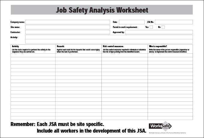 {Job Safety Analysis Template 7 Free Word PDF Documents Downlaod – Job Hazard Analysis Worksheet