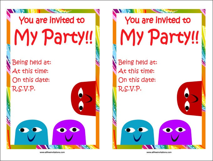 kids birthday party invitations templates – Child Birthday Party Invitations