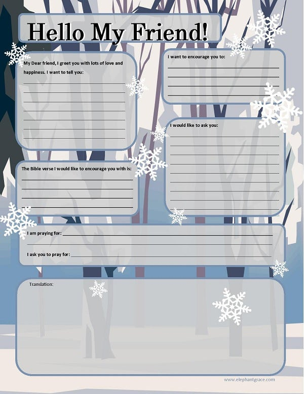 letter writing template for kids