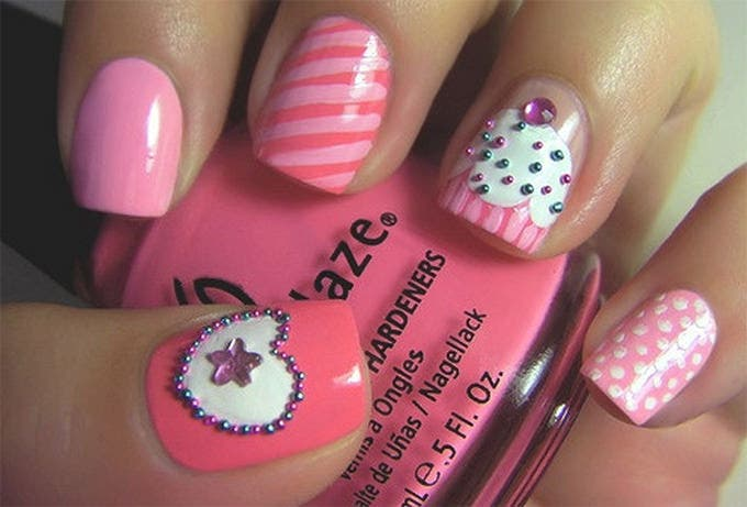nail design with pink nail polish