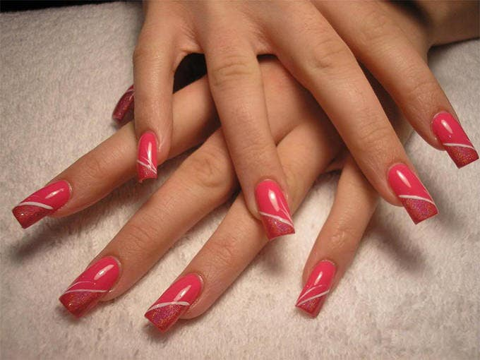 nail designs for pink nails