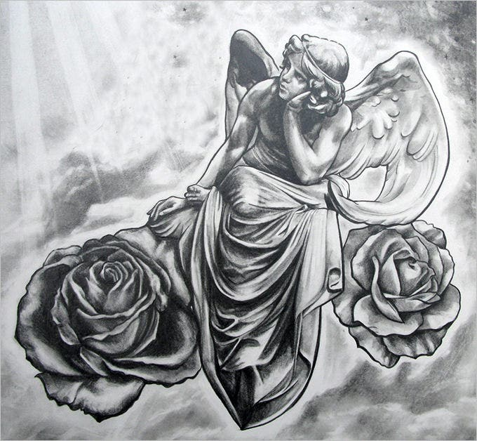pencil sketches of angels