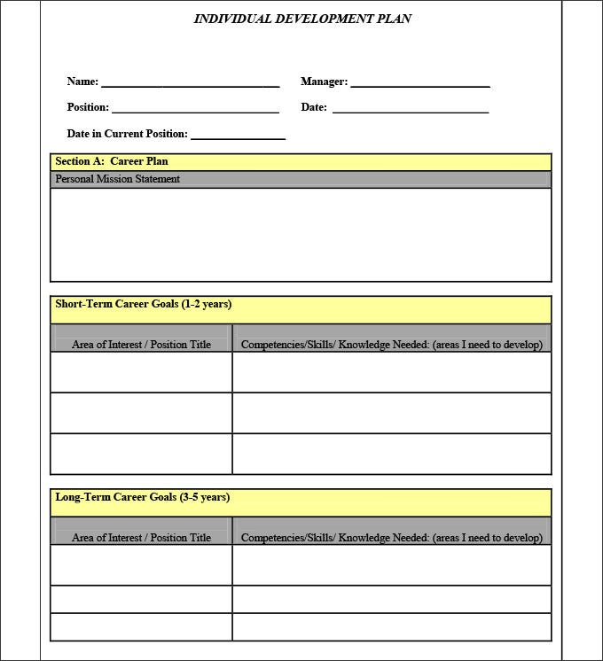 Sample personal development plan template 10 free for Developing a strategic plan template