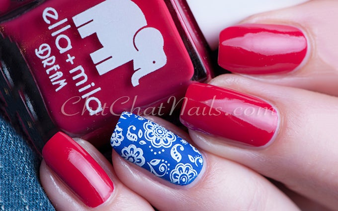 pink and blue nail design