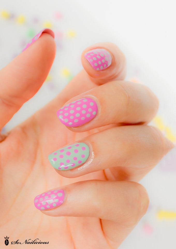 pink and green nail design