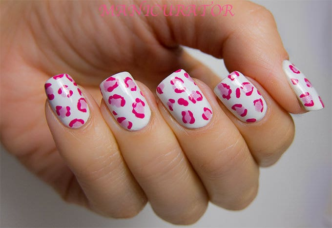pink and white nails designs