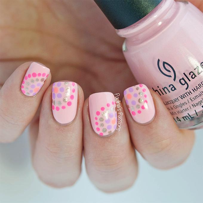 pink design nails