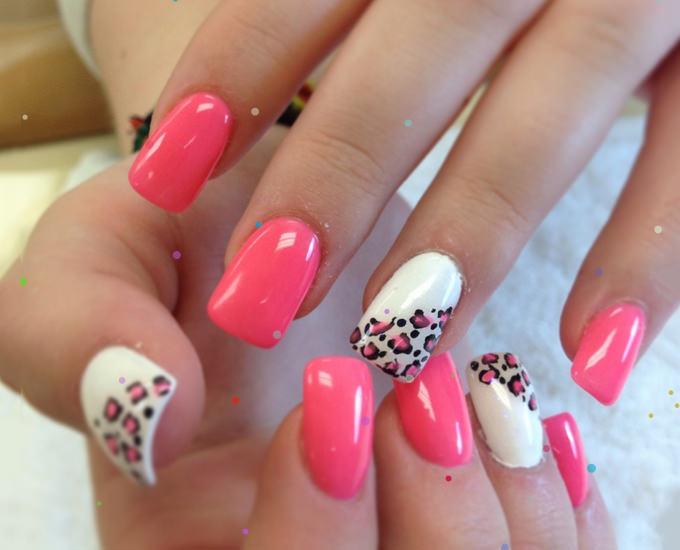 pink nail tip design