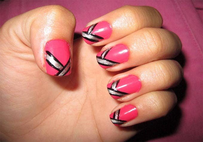 pink sparkly nail design