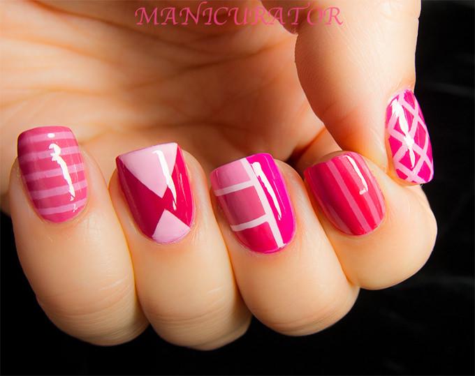 pink zebra nail design