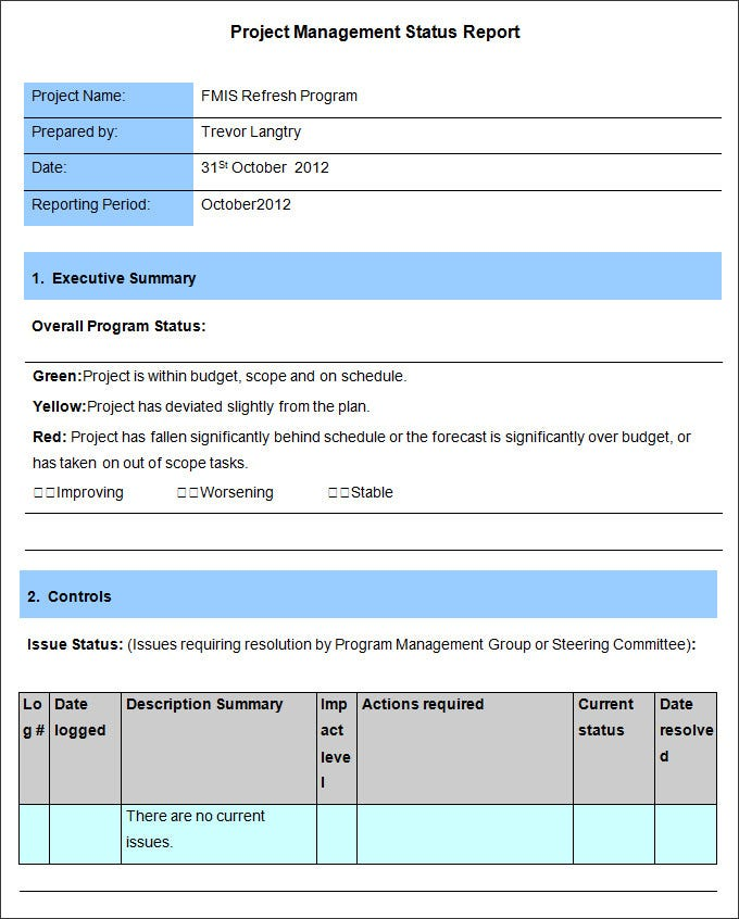 Management Report Template 15 Free Word PDF Documents – Project Management Report