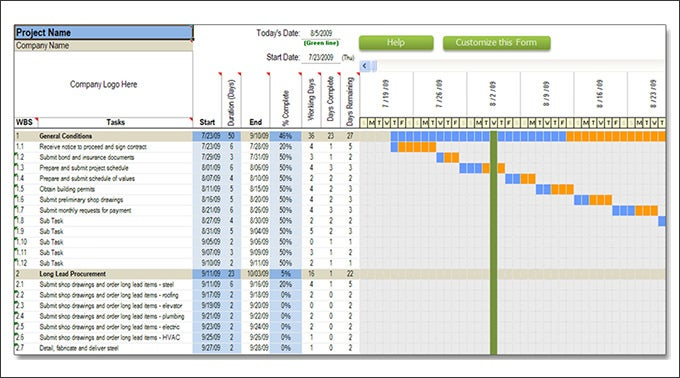 Construction schedule templates 13 free word excel for Building work schedule template