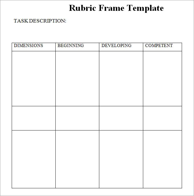 Blank Rubric Template, Rubric Template