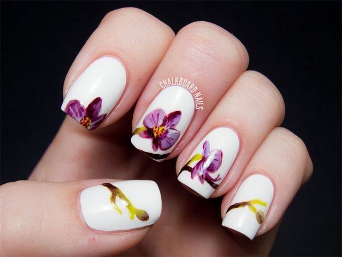 Simple Flower Nail Design