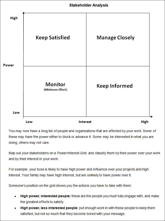 Stakeholder Analysis Template 7 Free Word Excel PDF Documents