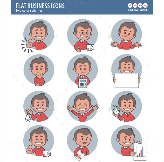 two sets of flat icon with characters businessman 10017393
