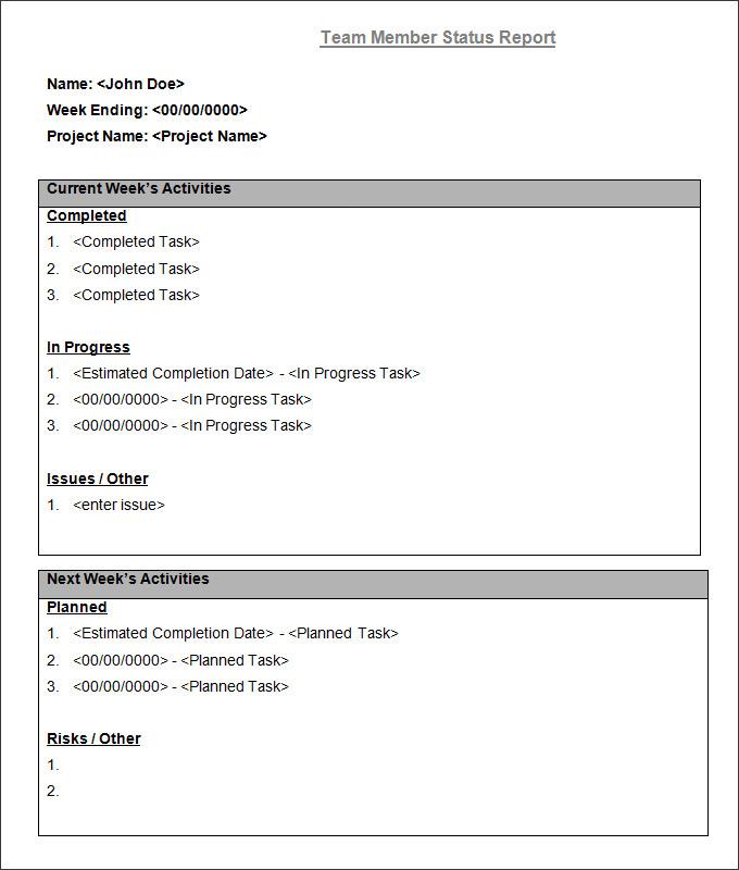 weekly status report examples