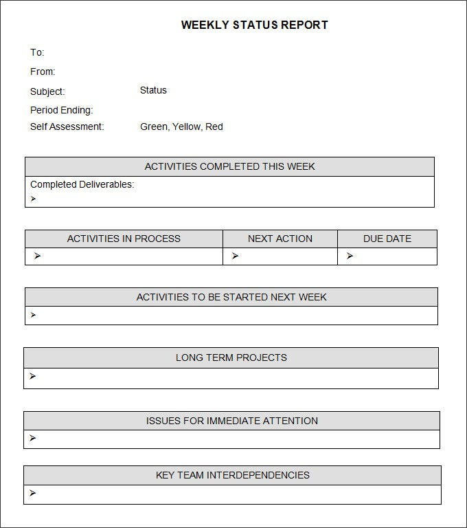 Weekly Status Report Template   6 Free Word Documents Download vddBTthn