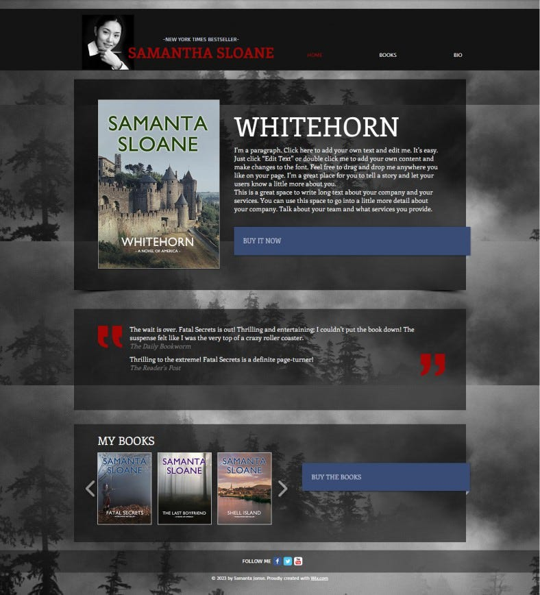 Free Author Website Template