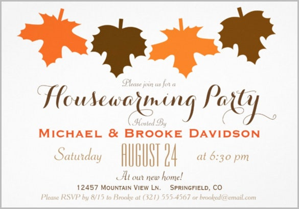 brown fall leaves housewarming party invitation card