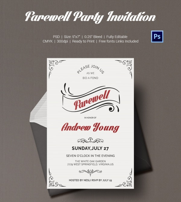 Customize Farewell Invitation Template Printable Download