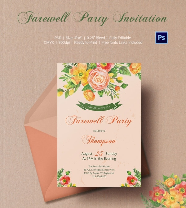 Floral Card Invitation Template for Farewell Party