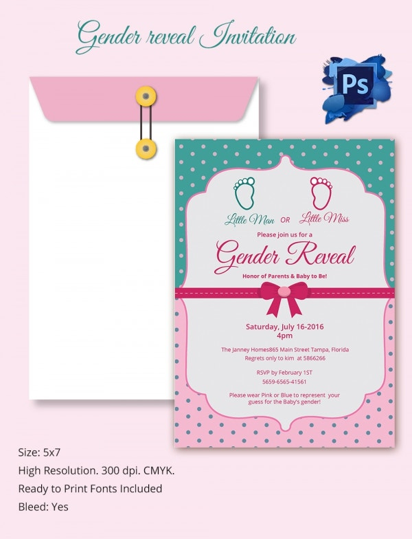 PSD Gender Reveal Invitation Template