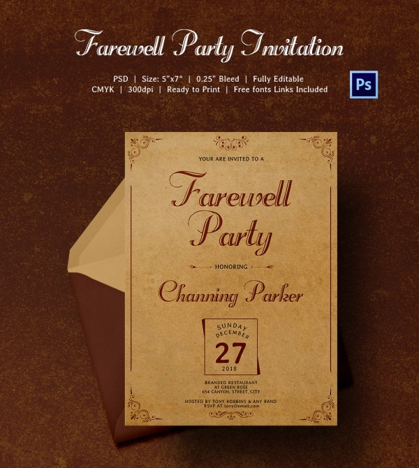 Special Invitation of Farewell Party