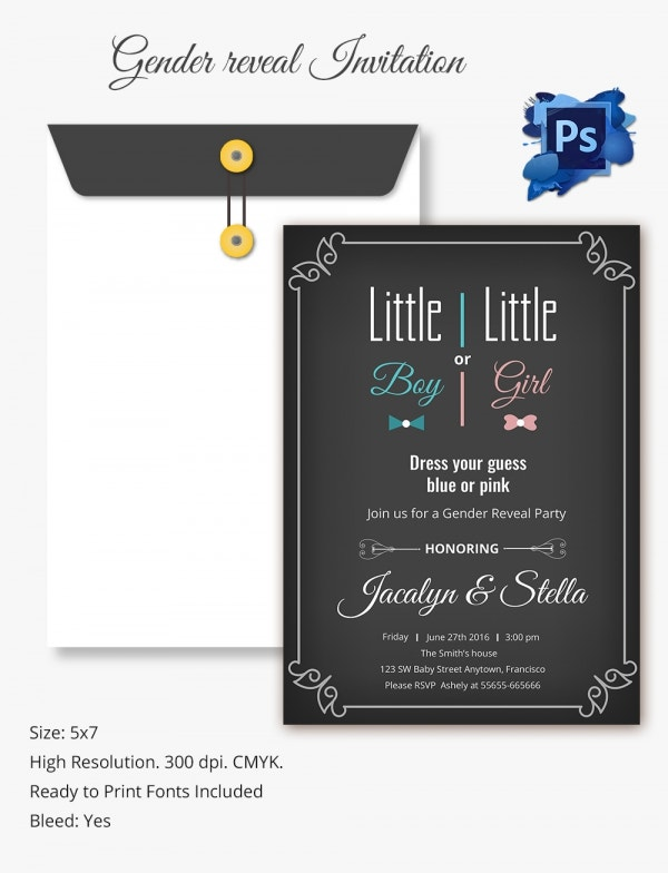 Elegant Gender Reveal Invitation Template