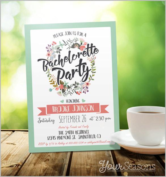 personalized coral bachelorette party invitation