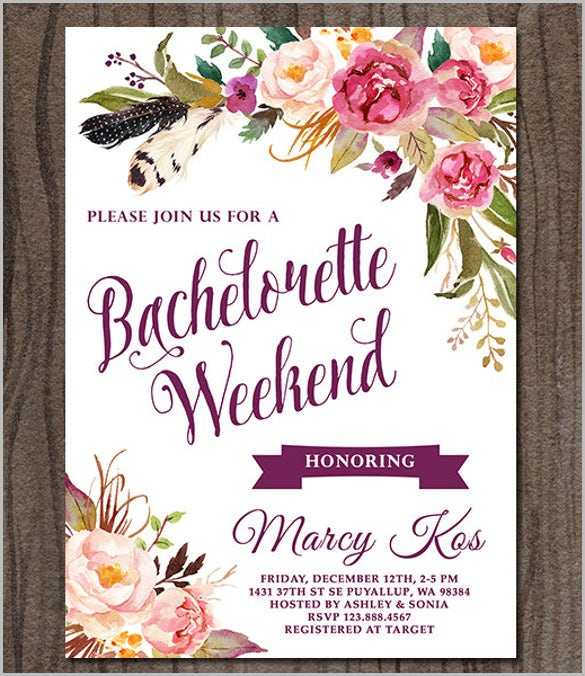 Bachelorette Party Invitation Floral Bridal Shower