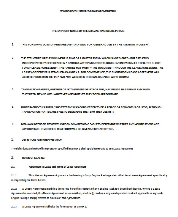 Short Term Engine Lease Agreement Doc Download