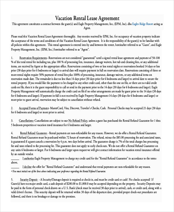 Vacation Rental Lease Agreement PDF Free Download