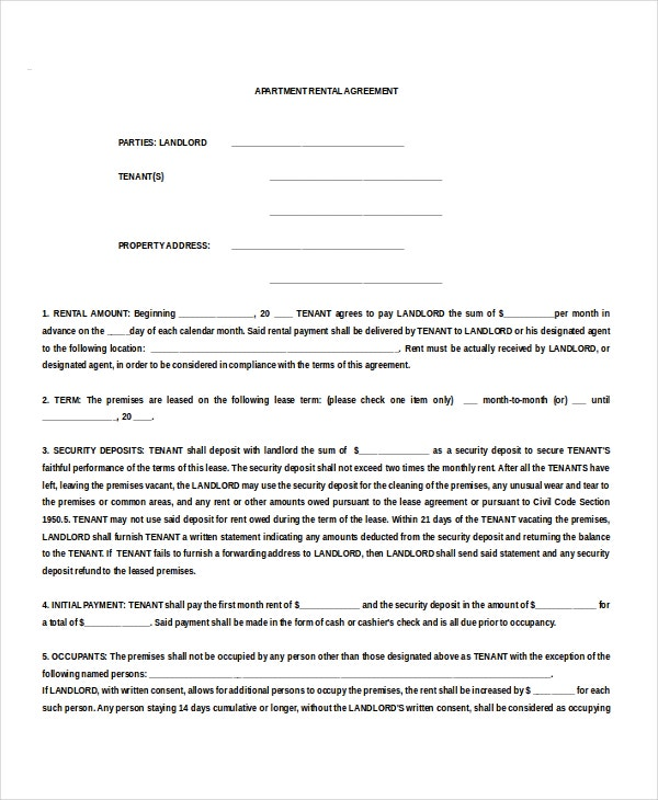 Apartment Tenancy Agreement Example Download For Free