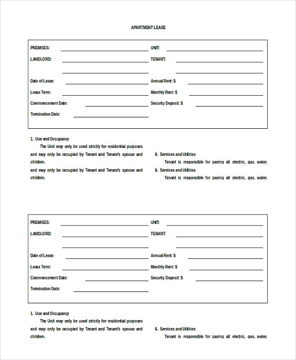 13 Apartment Rental Agreement Templates Free Sample Example – Sample Apartment Lease Agreement Template