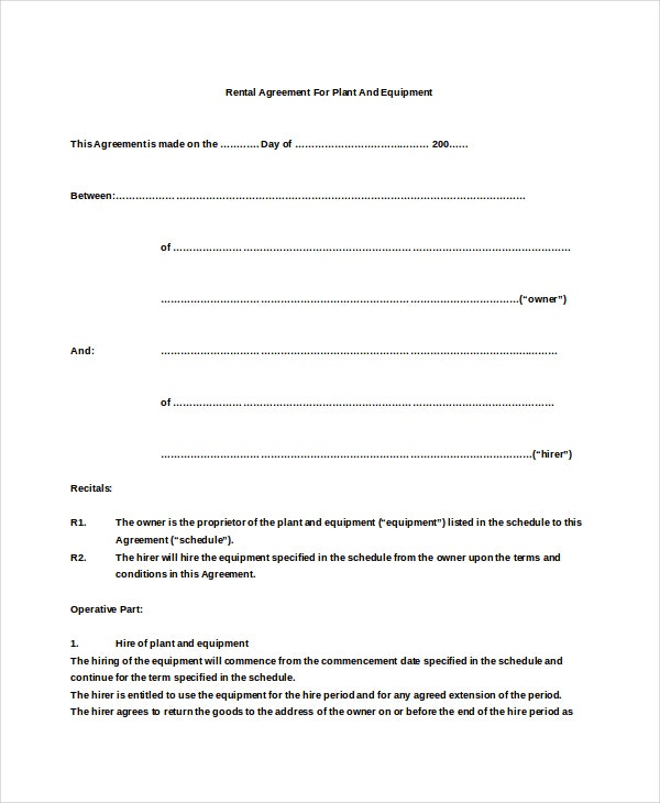 19 Basic Rental Agreement Templates – Free Sample