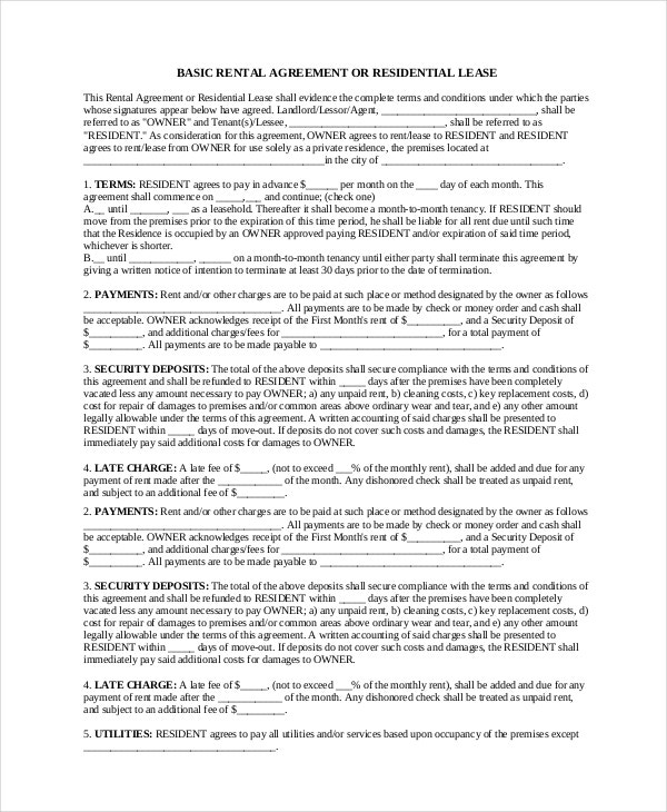 residential basic rental agreement pdf free download