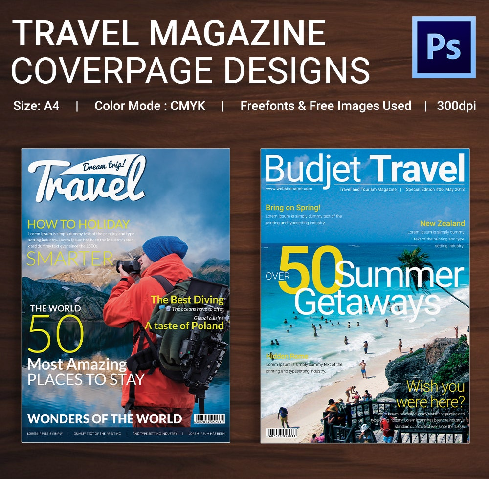 Travel Magazine Cover Page Template
