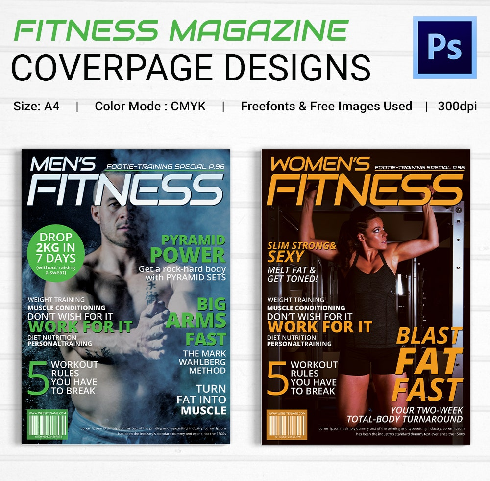 Fitness Magazine Cover Page Design