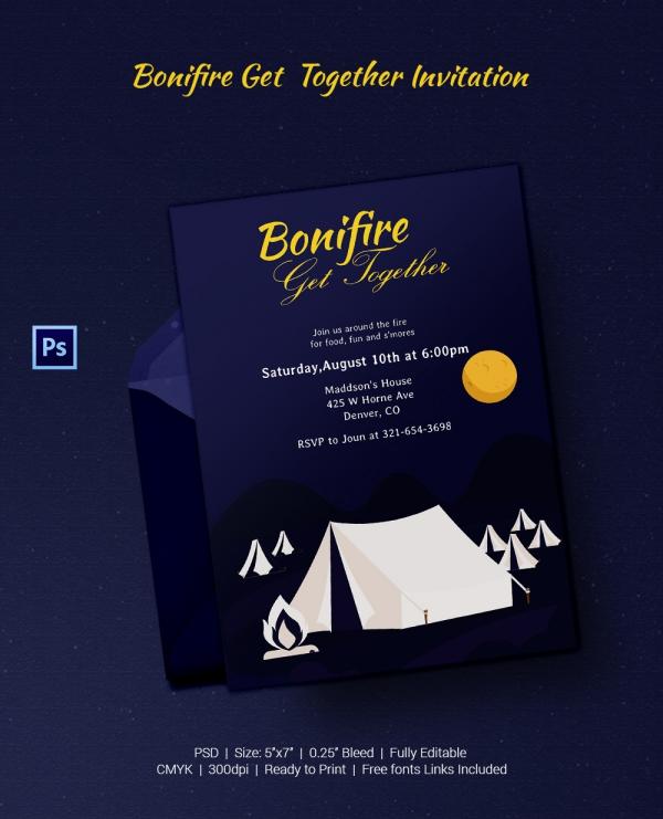 Bonfire Get Together Invitation Template