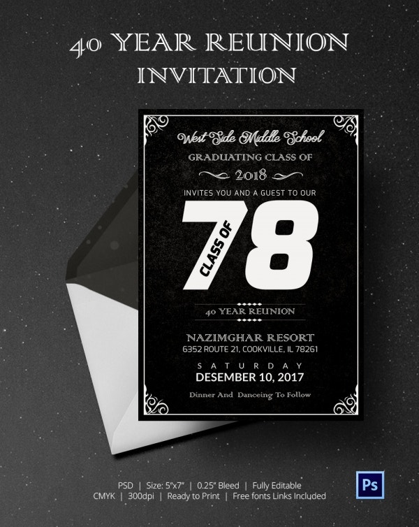 40 Year Reunion Get Together Invitation