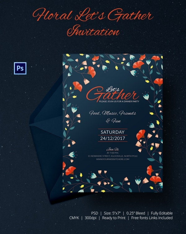 Floral Get Together Invitation Card