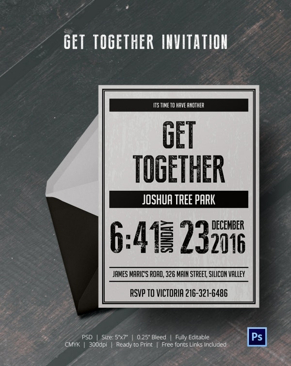 Sample Get Together Invitation Cards Template