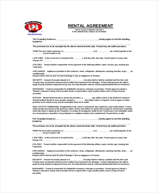 Blank Rental Agreement Templates  Free Sample Example Format