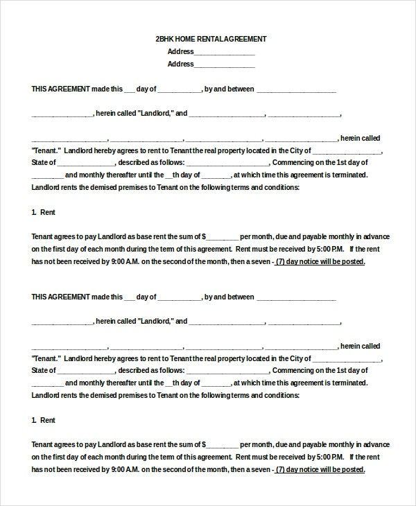 13 Blank Rental Agreement Templates – Free Sample